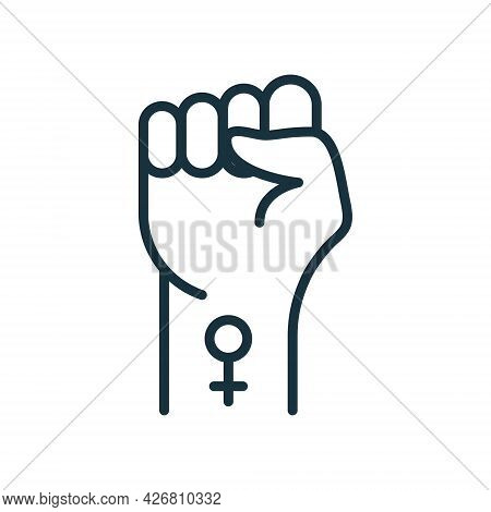 Symbol Of Feminist Movement. Strong Fist Raised Up With Female Gender Symbol. Girl Power, Female Pro