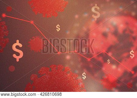 Global economic impact due to coronavirus pandemic red background