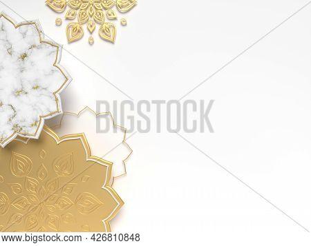 Diwali, Festival Of Lights Scene With 3d Indian Rangoli. Holidays Or Wedding Indian Design. 3d Rende
