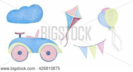 Watercolor Aquarelle Set For Kids Children. Car Kite Balloons And Flags In The Clouds On White Backg