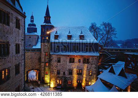 German Fairytale Castle In Winter Landscape. Castle Romrod In Hessen, Germany