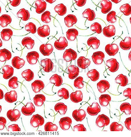Seamless Pattern Of Watercolor Single Cherries On The White Background. Hand Drawn Bright Texture, I