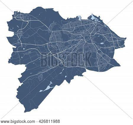 Edinburgh Map. Detailed Vector Map Of Edinburgh City Administrative Area. Cityscape Poster Metropoli