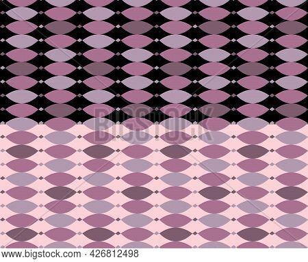 Abstract Minimal Geometric Seamless Pattern. Oval Hand Drawn Shapes In Lilac Palette. Black, Pink Ea