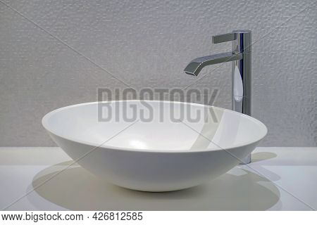 Modern Interior Of Washbasin And Faucet In Hotel