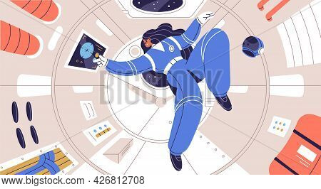 Concept Of Zero Gravity And Weightlessness In Cosmos. Weightless Astronaut Floating Inside Spaceship