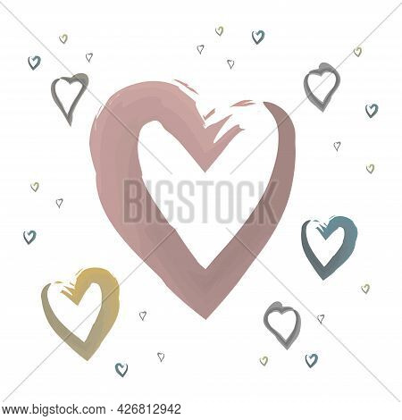 Brush-drawn Hearts Isolated On A White Background