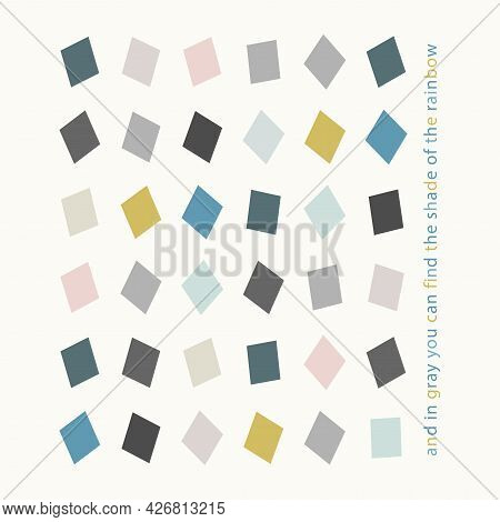 Poster With Rhombuses Of Gray, Blue, Turquoise, Yellow Colors