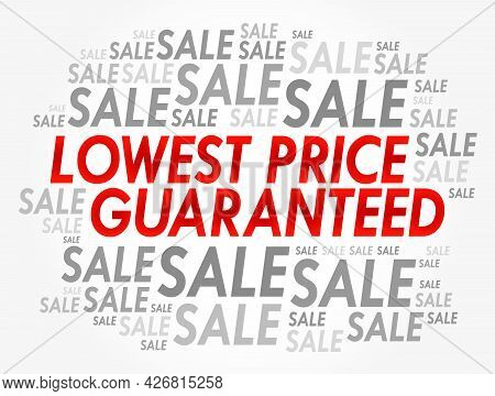 Lowest Price Guaranteed Words Cloud, Business Concept Background