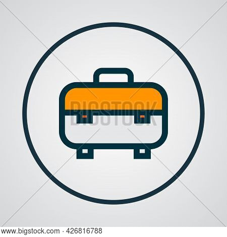 Toolbox Icon Colored Line Symbol. Premium Quality Isolated Toolkit Element In Trendy Style.