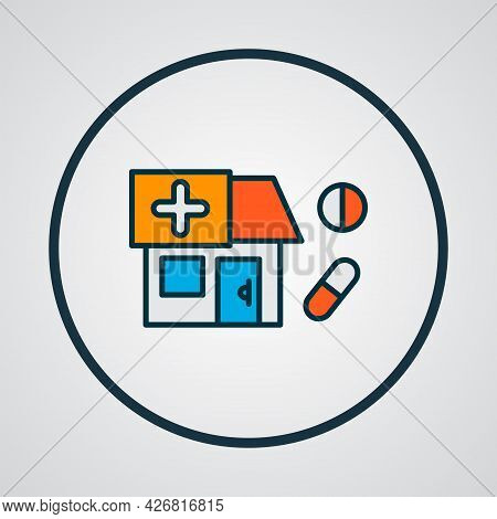 Drug Store Icon Colored Line Symbol. Premium Quality Isolated Pharmacy Element In Trendy Style.