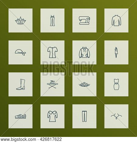 Fashion Icons Line Style Set With Crown, Ironing Board, Sewing Machine And Other Pendant Elements. I