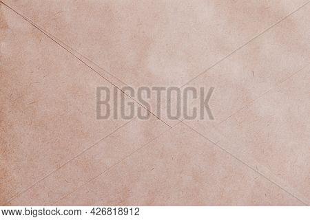 Texture Of Vintage Paper Envelope Part, Back Side. Background, Copy Space