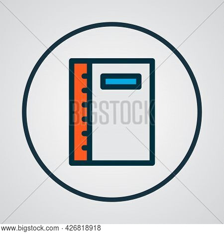 Notebook Icon Colored Line Symbol. Premium Quality Isolated Notepad Element In Trendy Style.