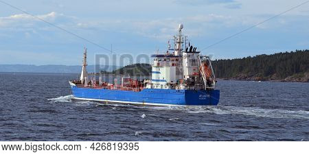 Travel by the Basto Ferry from Horten to Moss connects Ostfold and Vestfold in Norway.June 22,2018. Moss,Norway