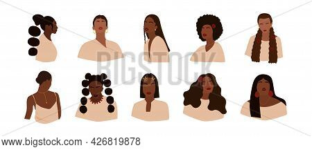 Set Of Portraits Of Faceless Women. Collection Of Abstract Dark-skinned Girls With Different Hairsty