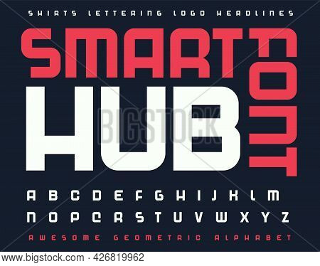 Technology Font Alphabet Letters. Modern Futuristic Typographic. Sans Serif Letter Set For Digital S