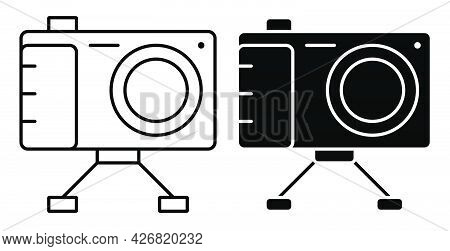 Linear Icon. Camera On Stand, Equipment For Photography And Selfie. World Photography Day August 19t