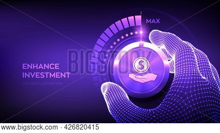 Investing And Finance Growth Business Concept. Strategy And Return On Investment. Wireframe Hand Set