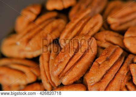 Pecan Nut Background.healthy Fats. A Healthy Snack. Natural Nutritious Fatty Product. Pecan Nuts Clo
