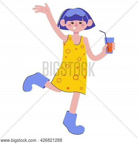 A Girl At A Pajama Party. Pillow Fights. Flat Characters Celebrating Holiday. Children Having Fun At