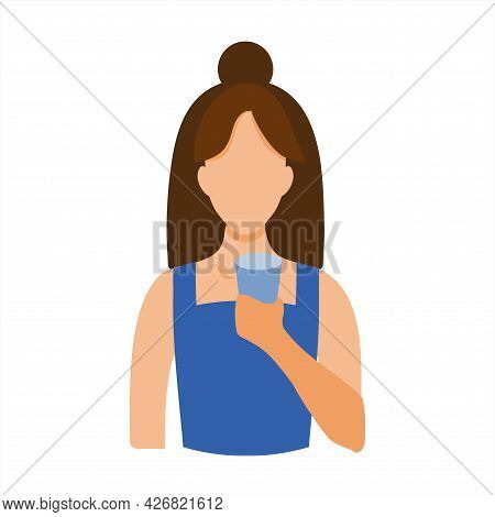 The Girl Holds A Glass Of Water In Her Hands. Flat Illustration For Infographics. Thirst, A Healthy