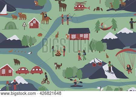 Forest Activities Seamless Pattern. Vector Hand Drawn Cartoon People, Families Spend Time Near River