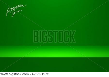Green Mock Up Stage - Studio Room For Product Presentation. Minimal Scene With Podium Stage, Showroo