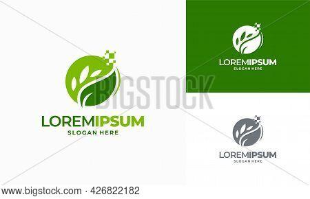 Digital Agriculture Logo Template Design, Leaf Tech Logo Designs, Green Technology Logo Designs Conc