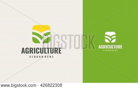 Iconic Agriculture Logo Creative Concept Design Template, Green Leaf Logo Icon Vector Design. Landsc