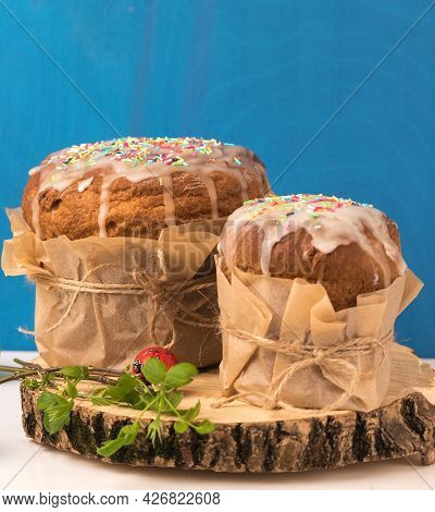 Orthodox Baking For The Easter Spring Festival. Traditional Cakes And Painted Eggs. Baking Sprinkled
