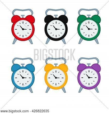Collection Of Clip Art Alarm Clock. Set Of Illustrations Of Different Alarm Clock Isolation On White