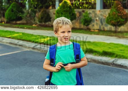 Funny Mischievous Cute Blond Boy With Freckles Blue Backpack From School Or Kindergarten, Artistic E