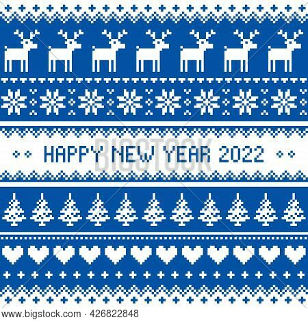Happy New Year 2022 - Scandinavian Vector Seamless Pattern Or Greeting Card Design With Redindeer