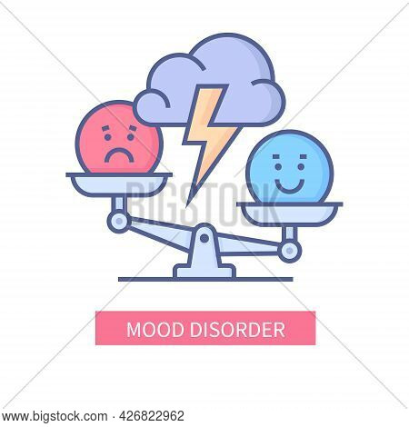 Mood Disorder - Vector Line Design Single Isolated Icon