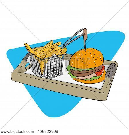 Fast Food Hamburger And French Fries In Basket On A Wooden Plate Hand Drawn With Black Lines Isolate