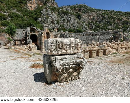 Masks And Rock Tombs In Myra, Turkey