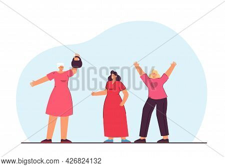 Old Woman Lifting Weights And Young Women Cheering. Elderly Person Doing Spots Flat Vector Illustrat