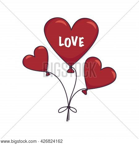 Red Heart Shaped Balloon With The Word Love. Decoration For Valentine Day, Wedding, Holiday