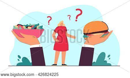 Woman Between Huge Hands Holding Salad And Hamburger. Girl Choosing Between Healthy And Unhealthy Fo