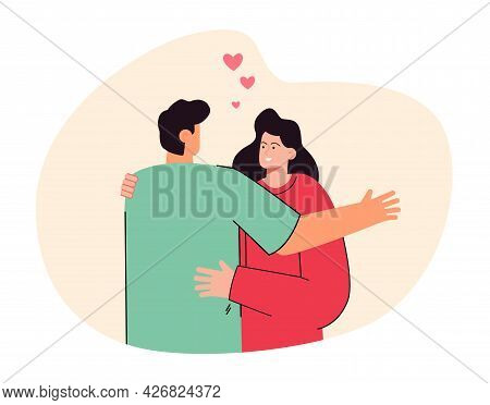 Back View Of Boyfriend Hugging Girlfriend. Cute Couple Standing Together, Woman Smiling Flat Vector
