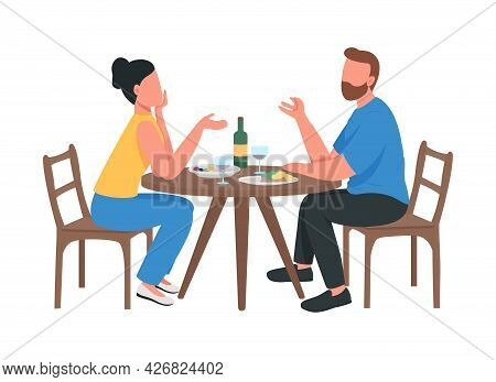 Couple At Romantic Dinner Semi Flat Color Vector Characters. Sitting Figure. Full Body People On Whi