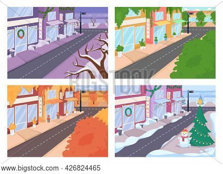 City Street With Different Seasons Flat Color Vector Illustrations Set. Urban Area With Autumn, Spri
