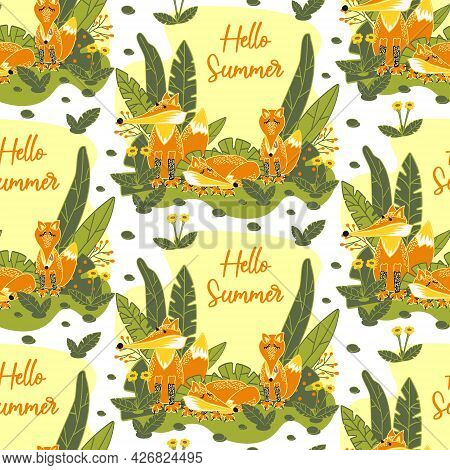Seamless Pattern With Cute Foxes In Nature. A Family Of Wild Foxes In The Meadow. Template With A Fo