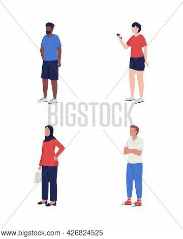 People Waiting In Queue Semi Flat Color Vector Characters Set. Multiracial Figures. Full Body People