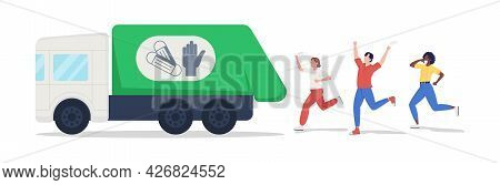 Disposing Masks And Gloves Semi Flat Color Vector Characters. Joyful Figures. Full Body People On Wh