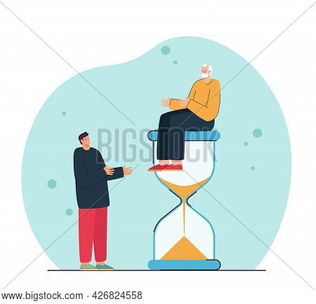 Young Man Talking To Elderly Person Sitting On Hourglass. Son And Old Father Flat Vector Illustratio