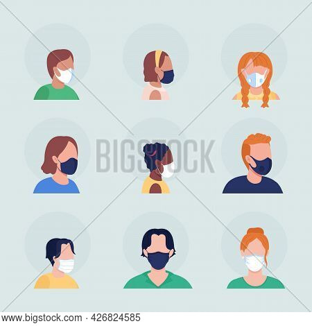 Covid Spread Prevention Semi Flat Color Vector Character Avatar With Mask Set. Portrait From Front A