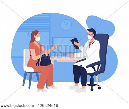 Personal Doctor Appointment 2d Vector Isolated Illustration. Visit Professional Health Facility Flat