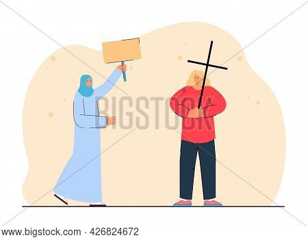 Christian Woman Holding Cross And Muslim Woman With Placard. Angry Female Catholic, Arab Person In T